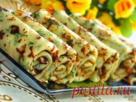 Лучшие кулинарные рецепты: Сырные блины с зеленью