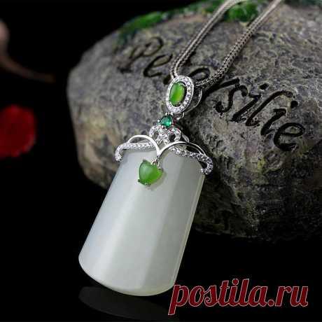 Jade Necklace / White Hetian Jade Necklace / 925 Silver Inlay | Etsy