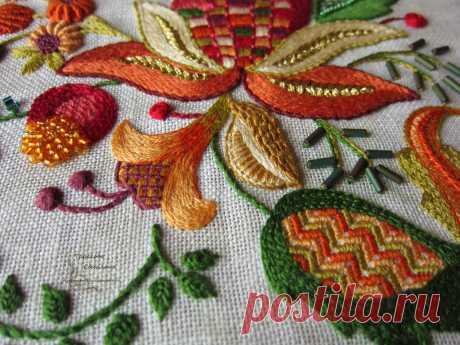 Якобинская вышивка  Здесь показаны основные швы и приемы вышивания