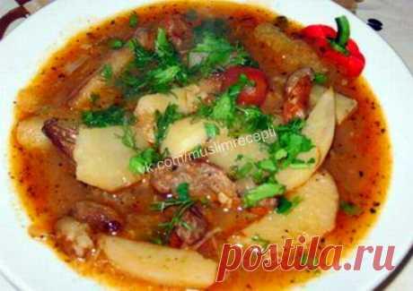 Жижиган-чорпа (Чеченская кухня) Ингредиенты: говядина или баранина 700 г жир животный 50 г томат-пюре 3 ст. л. репчатый лук