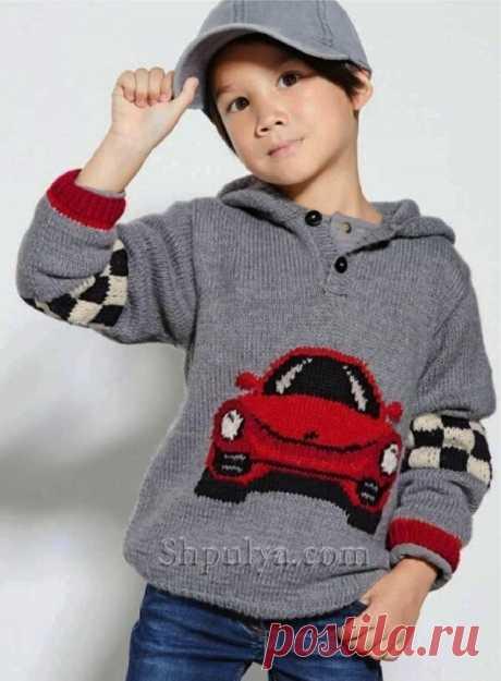Детский пуловер с капюшоном и жаккардовым узором