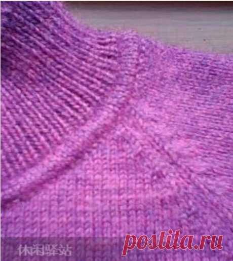 Как оформить такой переход от горловины к воротнику вязаного свитера или джемпера,мастер-класс подробно по фото