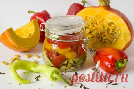Pumpkin and sweet pepper salad in fragrant marinade for the winter. The step-by-step recipe with a photo - Ботаничка.ru