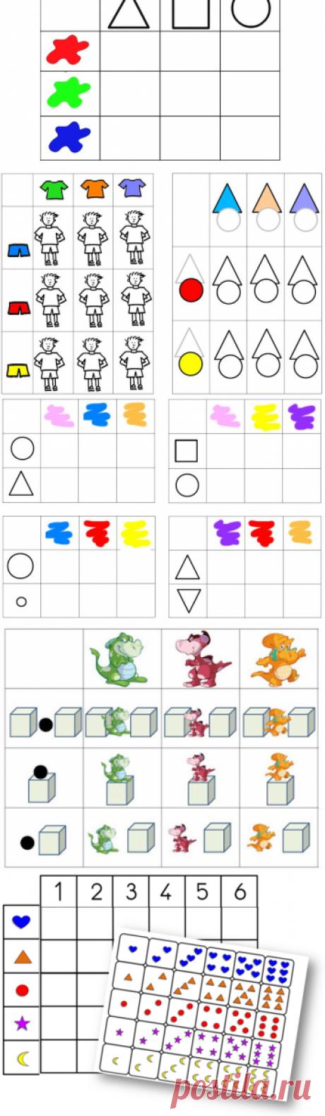 Почти 50 логических таблиц для детей от 2 до 6 лет, доступных для скачивания