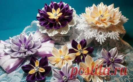 Цветы из лент: канзаши из узких лент.МК