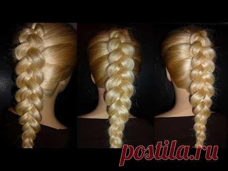 Французская коса обратная/наоборот. Причёска на средние, длинные волосы — Яндекс.Видео