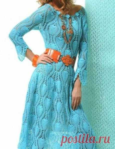 Ажурное платье с узором ананас крючком