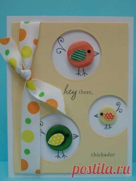 Идеи открыток с пуговицами