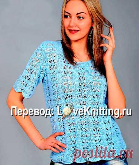 Летний ажурный пуловер   Loveknitting.ru