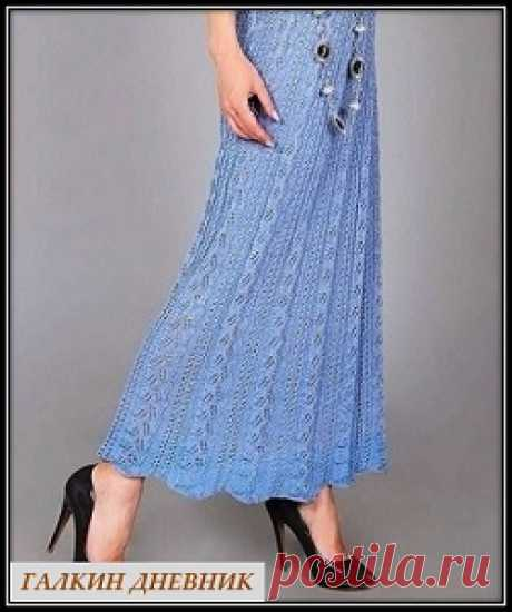 Ажурная юбка макси спицами