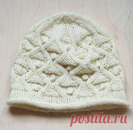 1000 идей для вязания спицами: Вязаная шапка с фактурной поверхностью