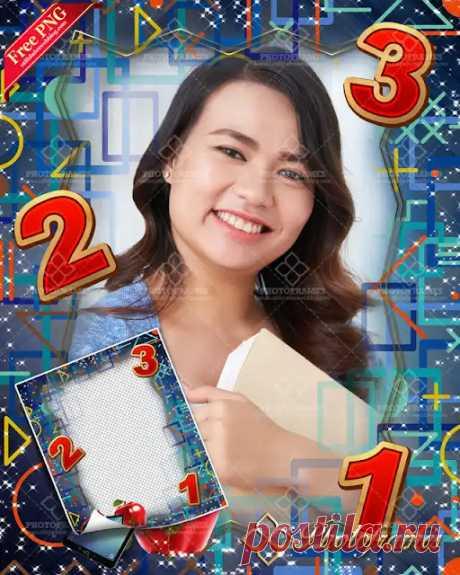 Marco para fotos decorados con signos y números, para poner fotos del día del maestro