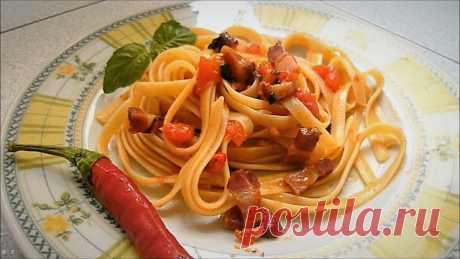 Простые Рецепты : Паста Аматричана или Спагети алла Аматричана рецепт классический пошагово, в фото и видео-приготовление. Паста Аматричана - это символ римской кулинарной традиции.