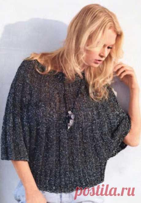 Вязание - модели и схемы: Пуловер-накидка с люрексом