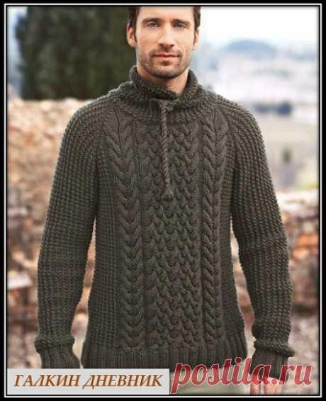 ГАЛКИН ДНЕВНИК - блог о вязании: Мужской свитер с аранами