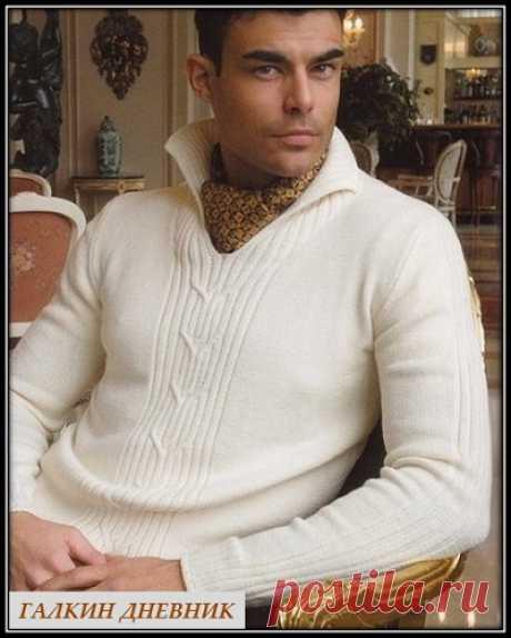 ГАЛКИН ДНЕВНИК - блог о вязании: Мужской джемпер спицами, схема с описанием вязания