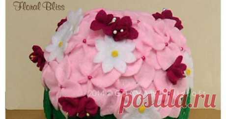 Floral Bliss - Roll Tissue Box Kotak tisu gulung hias flanel model bunga minimalis dalam keranjang.