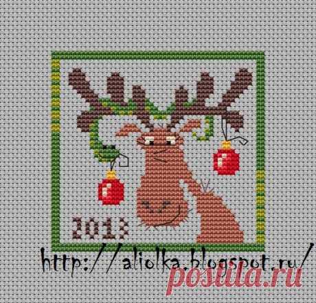 Мои творилки *** Aliolka design: Новогоднее: Лось со змейкой :)