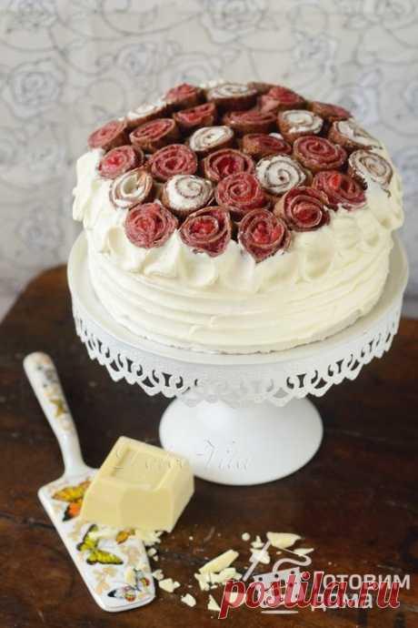 """Блинный торт """"Букет роз"""" - пошаговый рецепт с фото на Готовим дома"""