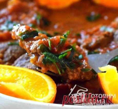 Мясо по-гречески. Мясо получаются сочным с вкусным томатно-пряным соусом.