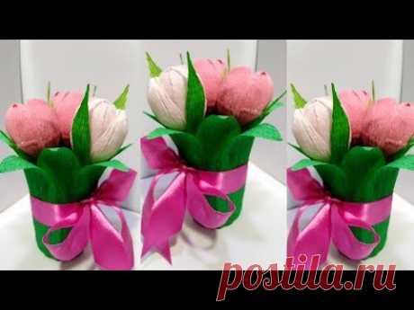 Подарочный Букет из Конфет Своими руками.Поделки цветы из конфет на День Матери,14 февраля идеи.DIY.