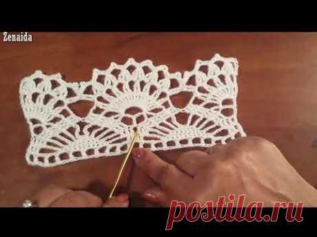 Puntilla de abanicos Crochet Zurdos