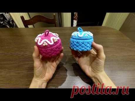 DIY Идея для подарка. Вяжем крючком шкатулку плетеным узором