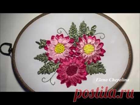 Красивые и простые цветы из ленты. Мастер класс по вышивке лентами.