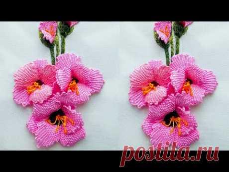Как вышить цветок гладиолуса   3Д вышивка