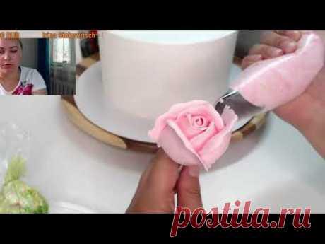 Оформление торта цветами из БЗК 🔴Танинторт