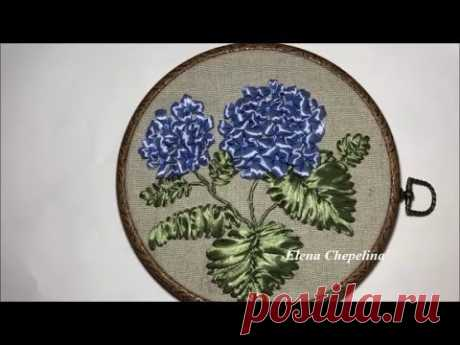 Гортензия вышитая лентами / Hydrangea embroidered with ribbons