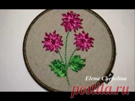 Цветок вышитый лентами / Flower embroidered with ribbons