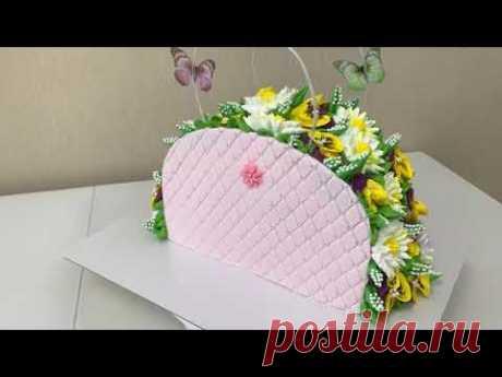НЕОБЫЧНОЕ ОФОРМЛЕНИЕ ТОРТА! ТОРТ ЖЕНСКАЯ СУМКА! АНЮТИНЫ ГЛАЗКИ И РОМАШКИ из БЗК!  Красивый торт!