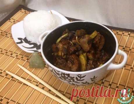 Куриная печень с грибами и кабачками по-азиатски!
