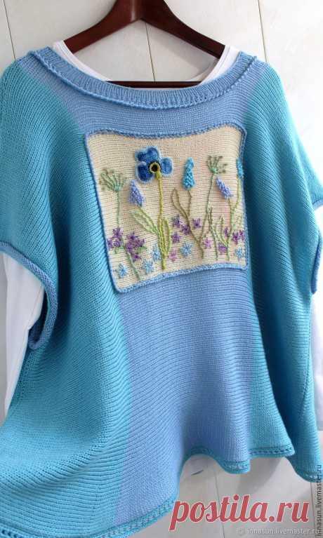 Ботаника. Бохо джемпер полушерсть голубой – заказать на Ярмарке Мастеров – 8GHK3RU   Джемперы, Москва