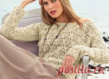 Ажурный пуловер спицами песочного цвета. Описание и схема. Вяжем ажурный пуловер спицами песочного цвета. Подробное описание и схема. Такой пуловер подойдет для прогулки летним вечером.