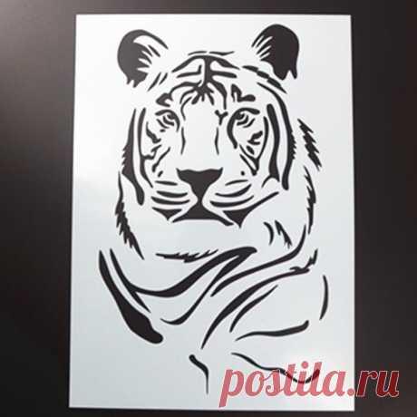 Трафареты для стены животного тигра DIY раскраска для скрапбукинга рельефная декоративная альбомная бумага шаблон карты многоразовые   Канцтовары для офиса и дома   АлиЭкспресс