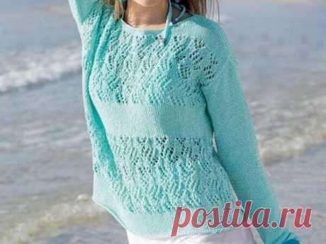 Летний пуловер мятного цвета из хлопковой пряжи ~ Свое рукоделие Летний пуловер из хлопковой пряжи приятного мятного цвета добавляет свежести и легкости в ваш образ. Этот летний пуловер вяжем спицами. Размеры: 38/40
