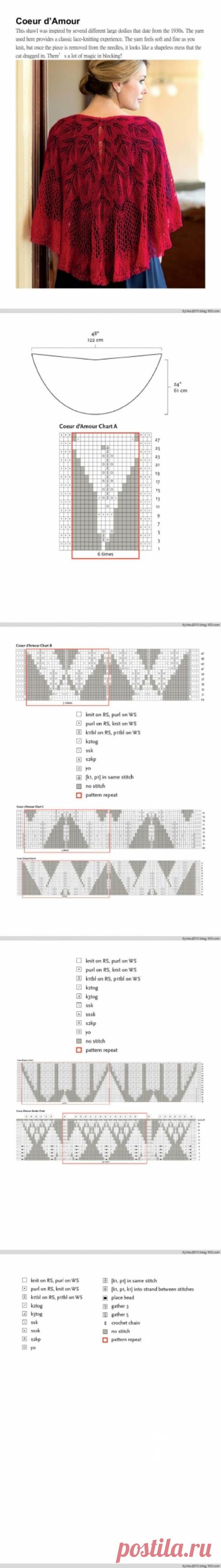 Накидки спицами (схемы из интернета). | Женская одежда крючком. Схемы и описание