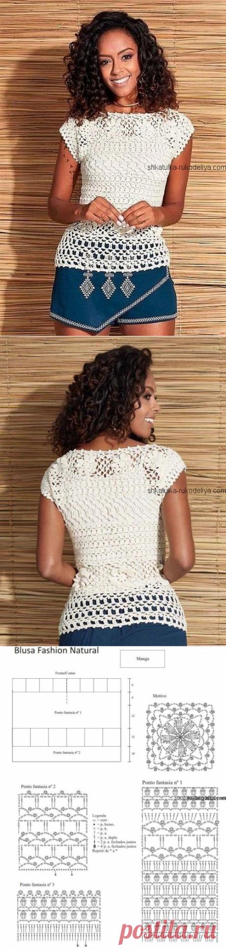Белая блуза крючком с мотивами. Вязание крючком летних кофточек схемы бесплатно   Шкатулка рукоделия. Сайт для рукодельниц.