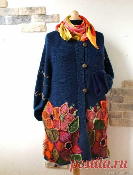 Эдем синий. Пальто / кардиган из шерсти. Цветы, вышивка, аппликация – заказать на Ярмарке Мастеров – DM0ERRU   Кардиганы, Москва