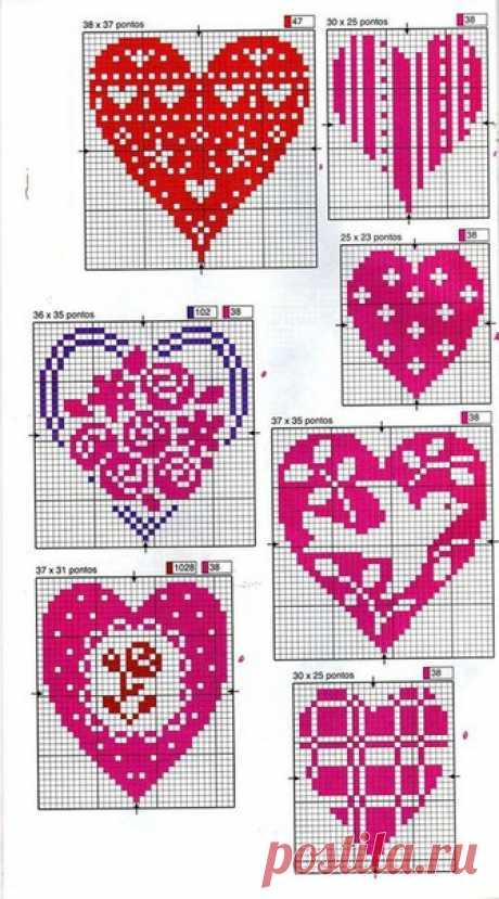 Вышитое сердце ко Дню святого Валентина: варианты схем для вдохновения
