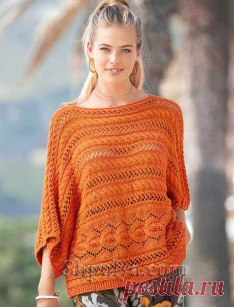 Оранжевый пуловер с ажурными «косами» — Shpulya.com - схемы с описанием для вязания спицами и крючком