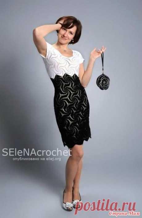 Вязание мотива Мельница для черно-белого платья Елены Бурундуковской - Вязание - Страна Мам