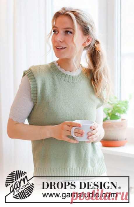 Безрукавка Abby Vest  Размеры: S - M - L - XL - XXL - XXXL  Понадобится: Пряжа DROPS FLORA (65% шерсть, 35% альпака, 210м/50г) 200-200-250-250-300-300 г, цвет 16, фисташка  Плотность вязания: 24 петель и 32 ряда лицевой гладью = 10 x 10 cm.  Спицы: Круговые спицы размер 3 мм, длина лески 60 или 80 см для лицевой глади. Круговые спицы DROPS размер 2.5 мм, длина лески 40 и 80 см для резинки. Размер спиц указан в качестве рекомендации. Если в связанном образце на 10 см слишко...