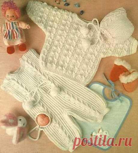 Пуловер, комбинезон и шапочка для ребенка от 6 месяцев до года., патентная резинка спицами полупатентная резинка спицами