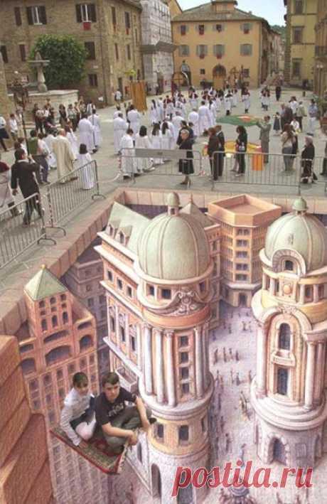 3D РИСУНОК НА АСФАЛЬТЕ (10 ФОТО) — ЭТО ИНТЕРЕСНО!