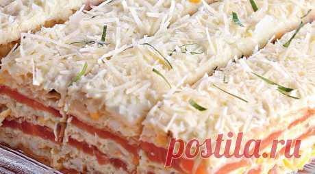 Закусочный торт, пошаговый рецепт с фото