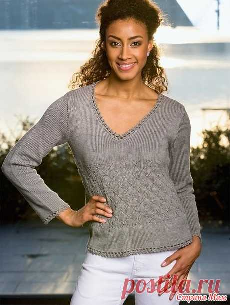 . Пуловер с узором из мелких ромбов - Вязание - Страна Мам