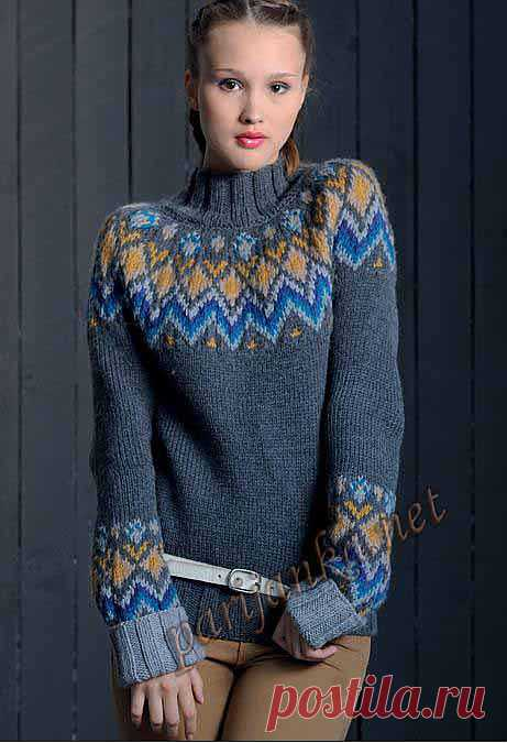 Женский жаккардовый свитер (м) 16*62 PHIL №2219